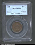1855 1/2 C AU53 PCGS. Slightly weak struck in the peripheral areas and on a few of the leaves on the reverse. The colora...