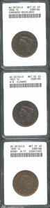 1836 1C --Corroded, Recolored--ANACS, AU Details, Net XF40, raw copper color appears through a thin brown veil; 1837--Cl...