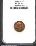 1935-D 1C MS67 Red NGC. Orange-copper mint luster glows from the surfaces of this fine strike, interrupted by areas of b...