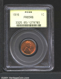 1916 1C PR65 Red and Brown PCGS. This piece represents excellent value in a matte proof Cent. Much of the original red l...