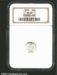 1852 3CS MS67 NGC. We highly recommend this second-year Superb Gem to collectors who will accept nothing but the best fo...
