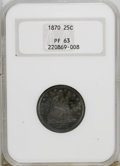 Proof Seated Quarters: , 1870 25C PR63 NGC. NGC Census: (22/66). PCGS Population (31/42).Mintage: 1,000. Numismedia Wsl. Price for NGC/PCGS coin in...