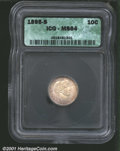 1895-S 10C MS64 ICG. Lustrous with attractive, original toning....(PCGS# 4808)