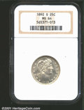 1892-S 25C MS64 NGC. A high quality representative of this conditionally challenging first-year issue, both sides are si...