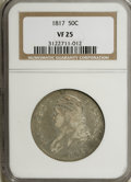 Bust Half Dollars: , 1817 50C VF25 NGC. NGC Census: (6/300). PCGS Population (12/286).Mintage: 1,215,567. Numismedia Wsl. Price for NGC/PCGS co...