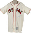 Autographs:Jerseys, Carl Yastrzemski Signed Throwback Jersey. Elegant Mitchell &Ness throwback jersey created in the style of the Boston Red ...