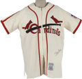 Autographs:Jerseys, Stan Musial Signed Throwback Jersey. Classic Mitchell & Nessthrowback created to replicate the 1942 St. Louis Cardinals hom...