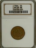 Two Cent Pieces: , 1866 2C MS65 Brown NGC. NGC Census: (32/5). PCGS Population (7/0).Mintage: 3,177,000. Numismedia Wsl. Price for NGC/PCGS c...