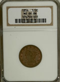 1854 1/2 C MS64 Brown NGC. NGC Census: (98/52). PCGS Population (54/12). Mintage: 55,358. Numismedia Wsl. Price for NGC/...