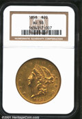 1858 $20 AU58 NGC. With rich olive-gold color, modest brightness in the fields (well, at least at a few angles), and bol...