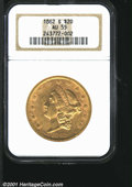1862-S $20 AU55 NGC. Rich orange-gold color yields to crimson colored overtones on the reverse of this lightly worn exam...