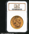 1876 $20 MS62 NGC. Full mint luster envelops both sides with a few small abrasions scattered about. Always a desirable i...