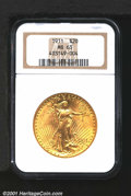 1911 $20 MS63 NGC. The green-gold surfaces are sharply impressed with no sizeable or individually distracting abrasions...