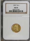Classic Quarter Eagles: , 1835 $2 1/2 AU55 NGC. NGC Census: (38/151). PCGS Population (15/68). Mintage: 131,402. Numismedia Wsl. Price for NGC/PCGS c...