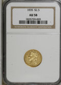 Classic Quarter Eagles: , 1835 $2 1/2 AU58 NGC. NGC Census: (58/90). PCGS Population (24/43). Mintage: 131,402. Numismedia Wsl. Price for NGC/PCGS co...