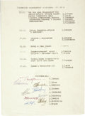 Explorers:Space Exploration, Russian Cosmonaut Schedule of Events, Signed by Nine of the Original Cosmonauts. ...