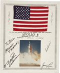 Explorers:Space Exploration, Apollo 8 Flown U.S. Flag Signed by Borman, Lovell, & Anders....