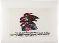 Explorers:Space Exploration, Apollo 15 Lunar Module Flown Flag Signed by Al Worden....