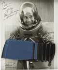 Explorers:Space Exploration, Ron Evans Signed Photograph with a Piece of His Apollo 17 Spacesuit,...
