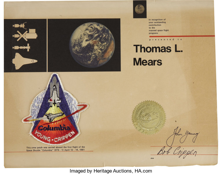 Flown Columbia Space Shuttle Patch And Certificate Explorers