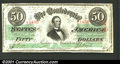 Confederate Notes:1863 Issues, 1863 $50 Black with green overprint; Jefferson Davis, T-57, XF-...