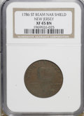 1786 COPPER New Jersey Copper, ST Beam, Narrow Shield XF45 NGC. NGC Census: (0/0). PCGS Population (8/19). (#496)...(PCG...