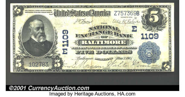 National Bank Notes Maryland Exchange Of Baltimore Charter