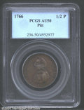 1766 1/2P Pitt Halfpenny AU50 PCGS. Well struck, the surfaces are reddish-brown with darker mottling over each side. Lis...