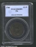 1766 1/2P Pitt Halfpenny MS62 Brown PCGS. Breen-251. This is a remarkably well impressed coin with fully defined periphe...