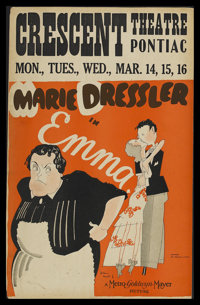 "Emma (MGM, 1932). Window Card (14"" X 22""). Comedy. Starring Marie Dressler, Richard Cromwell, Jean Hersholt an..."