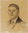 Illustration:Magazine, NORMAN ROCKWELL (American 1894 - 1978) . Portrait drawing of JoeBentley, 1924 . Graphite on paper . 10-1/4 x 8-3/4in....