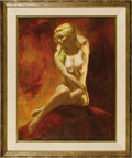 Illustration:Pin-Up, EARL MORAN (American 1893 - 1984) . Untitled . Oil on board. 38 x 32in. . Signed center-left...
