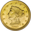 Liberty Quarter Eagles: , 1840-O $2 1/2 MS62 PCGS. The 1840-O is an unheralded first-yearO-mint of a new type, the familiar Liberty Head series, and...