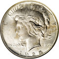 Peace Dollars: , 1925-S $1 MS65 NGC. A satiny Gem with highly lustrous silversurfaces that are splashed with ...