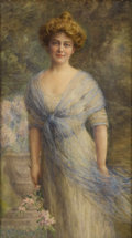 Fine Art - Painting, American:Modern  (1900 1949)  , Attributed to FRANK WESTON BENSON (American 1862-1951). PortraitOf A Young Woman , 1912. Watercolor on paper. 51-1/2 x ...
