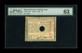 "Colonial Notes:Massachusetts, Massachusetts May 5, 1780 $7 PMG Choice Uncirculated 63. PMGcomments ""Hole Cancel"" on this bright, well-signed Massachusett..."