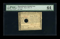 "Colonial Notes:Massachusetts, Massachusetts May 5, 1780 $7 PMG Choice Uncirculated 64. PMGcomments ""Hole Cancelled,"" which on this note is a somewhat sma..."