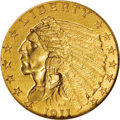 Indian Quarter Eagles: , 1911-D $2 1/2 MS62 NGC. The mintmark is remarkably bold on this delightful key-date quarter eagle, one of only 55,600 busin...