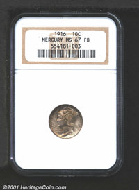 1916 10C MS67 Full Bands NGC. Resplendent matte-like surfaces are toned in variegated olive, steel, and tan patina. This...
