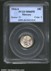 1916-S 10C MS66 Full Bands PCGS. Fully lustrous and well defined with scattered specks of russet toning and no significa...