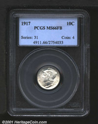 1917 10C MS66 Full Bands PCGS. Untoned and bright, beaming with luster, this coin is an unusually nice example, with exc...