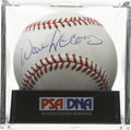 Autographs:Baseballs, Willie McCovey Single Signed Baseball, PSA Mint+ 9.5. Sparklingwhite OML orb bears the neat Hall of Fame signature of Giant...