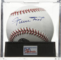 Autographs:Baseballs, Willie Mays Single Signed Baseball, PSA Mint+ 9.5. We can barelyimagine a whiter ball with a nicer signature from the Hall ...