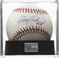 "Autographs:Baseballs, Gary Carter ""#8"" Single Signed Baseball, PSA Mint+ 9.5. Beautifulsweet spot example from the finest backstop of his era. Ba..."