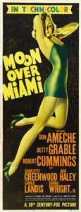 "Movie Posters:Musical, Moon Over Miami (20th Century Fox, 1941). Insert (14"" X 36"")...."