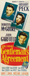 "Movie Posters:Drama, Gentleman's Agreement (20th Century Fox, 1947). Insert (14"" X36"")...."