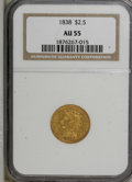 Classic Quarter Eagles: , 1838 $2 1/2 AU55 NGC. NGC Census: (36/106). PCGS Population (18/40). Mintage: 47,030. Numismedia Wsl. Price for NGC/PCGS co...