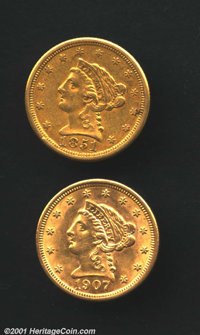 1851-O $2 1/2 XF45 Uncertified, typically mushy olive-gold surfaces retain more than adequate luster; and a 1907 MS60 Un...