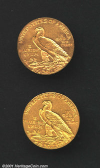 1908 $2 1/2 MS60 Uncertified, the reverse has a few rim marks on the left side; and a 1911 AU58, just a whisper of wear...