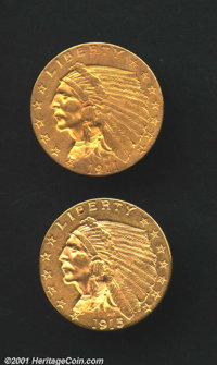 1911 $2 1/2 AU55 Uncertified, olive-gold surfaces with bits of pale orange in the recesses; and a 1915 AU55 Cleaned Unce...